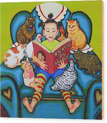 Little Girl Reading To Doll Cats Chickens Wood Print by Rebecca Korpita