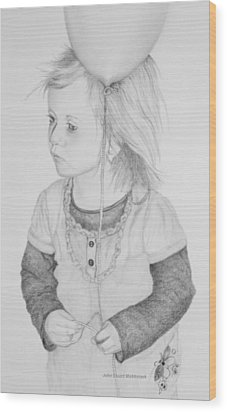 Little Girl With Balloon Wood Print