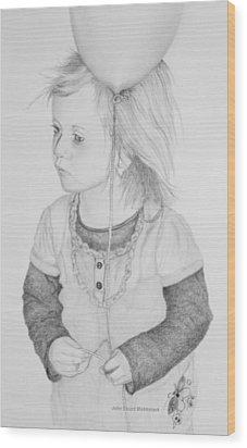 Little Girl With Balloon Wood Print by John Stuart Webbstock