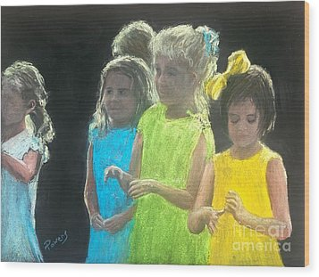 Wood Print featuring the painting Little Girls by Mary Lynne Powers