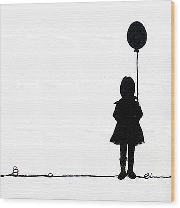 Little Girls On Little Canvas  Wood Print by Cindy D Chinn