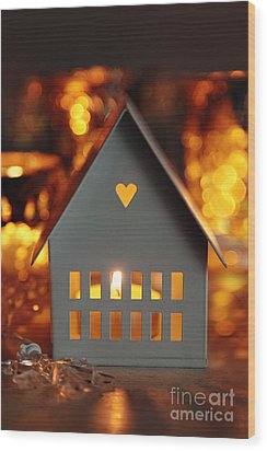 Wood Print featuring the photograph Little Gray House Lit With Candle For The Holidays by Sandra Cunningham
