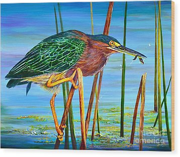 Little Green Heron Wood Print by AnnaJo Vahle