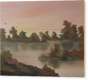 Little Haven At Sunset Wood Print by Cynthia Adams