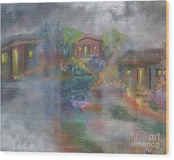 Wood Print featuring the painting Little Houses On A Rainy Night  by Nereida Rodriguez