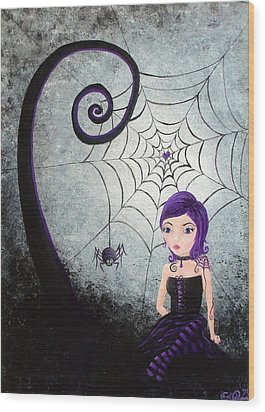 Wood Print featuring the painting Little Miss Muffet by Oddball Art Co by Lizzy Love