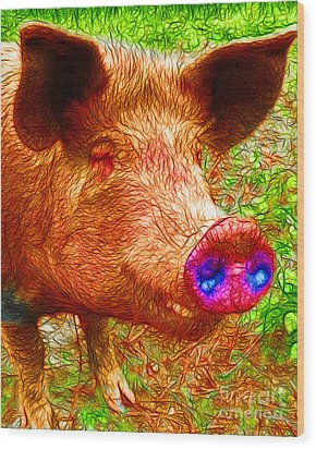 Little Miss Piggy - 2013-0108 Wood Print by Wingsdomain Art and Photography