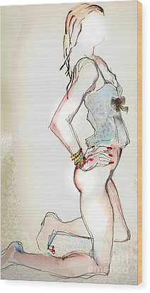 Little Miss Sunshine - Lingerie Wood Print by Carolyn Weltman