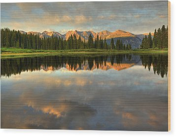 Little Molas Lake At Sunset Wood Print by Alan Vance Ley