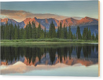 Little Molas Lake Sunset 2 Wood Print by Alan Vance Ley
