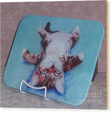 Little Napper Cutting And Serving Board Wood Print by Pat Saunders-White
