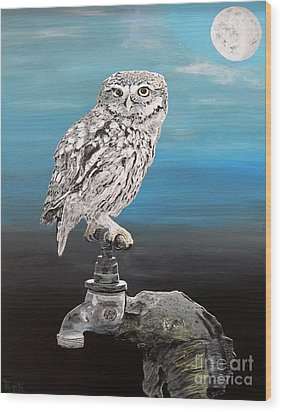 Wood Print featuring the painting Little Owl On Tap by Eric Kempson