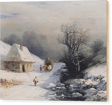 Little Oxcart Wood Print by Ivan Constantinovich Aivazovsky