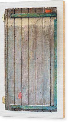 Little Painted Gate In Summer Colors  Wood Print by Asha Carolyn Young