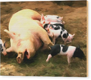 Little Piggies Wood Print by Michael Pickett