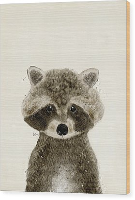Little Raccoon Wood Print