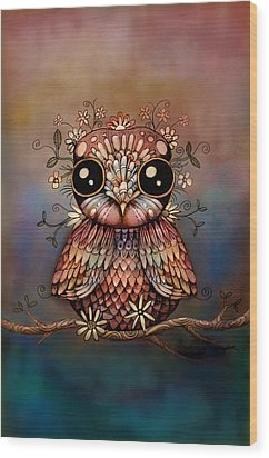Little Rainbow Flower Owl Wood Print by Karin Taylor