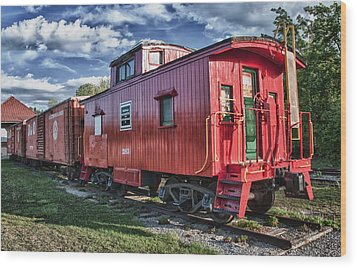 Little Red Caboose Wood Print by Guy Whiteley