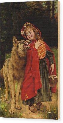Little Red Riding Hood Wood Print by Gabriel Joseph Marie Augustin Ferrier