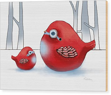 Little Red Robins Wood Print by Karin Taylor