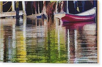 Little Red Row Boat Wood Print by Pamela Blizzard