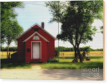 Little Red School House Wood Print by Kathleen Struckle