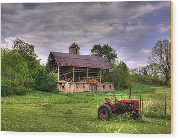 Little Red Tractor Wood Print by David Simons