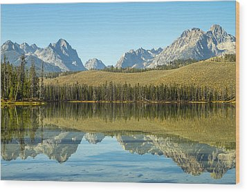 Little Redfish Lake Wood Print by For Ninety One Days