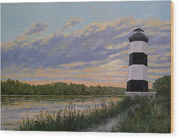 Little River Light 2 Wood Print by Kathleen McDermott