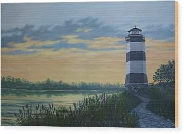 Wood Print featuring the painting Little River Light One by Kathleen McDermott