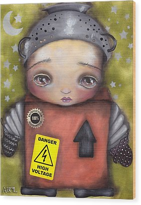 Little Robot Wood Print by  Abril Andrade Griffith