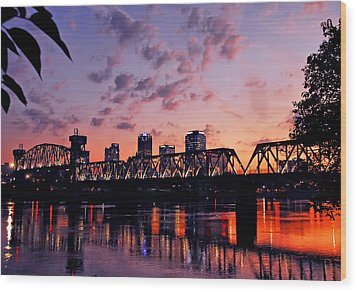 Little Rock Bridge Sunset Wood Print