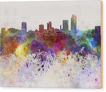 Little Rock Skyline In Watercolor Background Wood Print by Pablo Romero