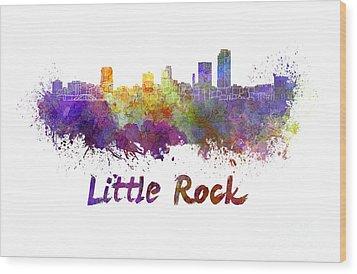 Little Rock Skyline In Watercolor Wood Print by Pablo Romero