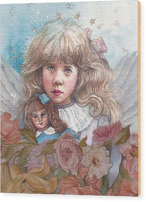 Little Rose Angel Wood Print by Judith Cheng