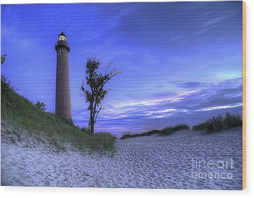 Little Sable Lighthouse In Evening Wood Print by Twenty Two North Photography
