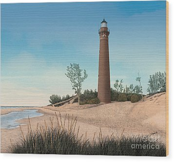 Little Sable Point Lighthouse Wood Print by Darren Kopecky