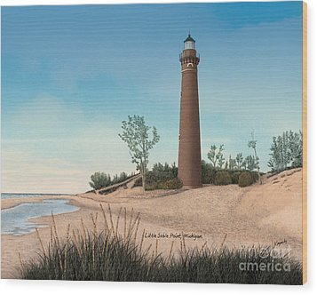 Little Sable Point Lighthouse Titled Wood Print by Darren Kopecky