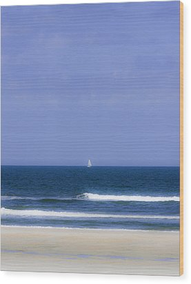 Little Sailboat On Calm Sea Wood Print by Karen Stephenson