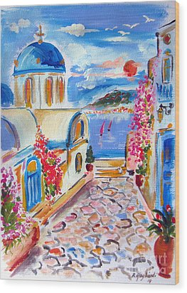 Little Santorini Alley Wood Print