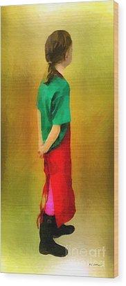 Little Shopgirl Wood Print by RC deWinter