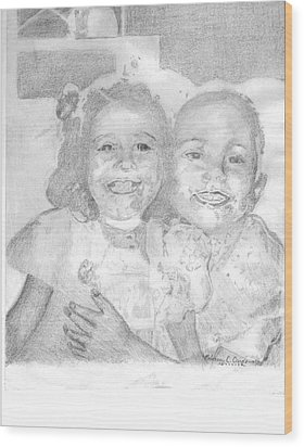 Little Sister Wood Print by Rebecca Christine Cardenas