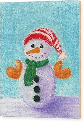 Little Snowman Wood Print by Anastasiya Malakhova