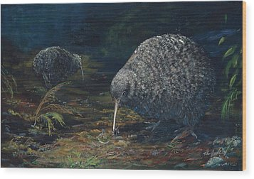 Little Spotted Kiwi Wood Print by Peter Jean Caley