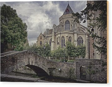 Little Stone Bridge By The Church Wood Print by Joan Carroll