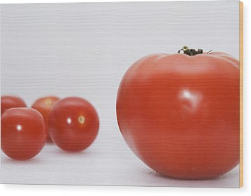 Little Tomatoes And One Big Tomato Wood Print by Marlene Ford