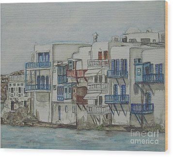 Wood Print featuring the painting Little Venice Mykonos Greece by Malinda  Prudhomme