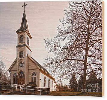 Little White Church Wood Print by MaryJane Armstrong