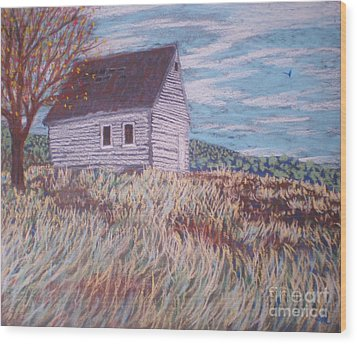 Wood Print featuring the painting Little White House On The Hill by Suzanne McKay