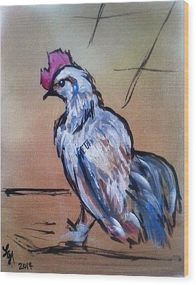 Little White Rooster Wood Print by Loretta Nash